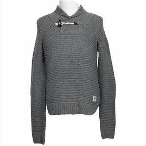 Bellfield Gray Acyrlic V-neck Pullover Sweater